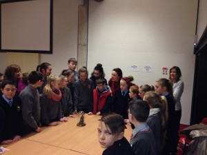 Students admire Hannah Maguire's stunning figurines at the Bookmarks launch 15 Jan 2014
