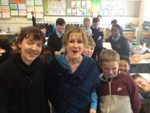 86 children writing their own story this year here with Hannah Maguire and boys from Good Counsel Drimnagh
